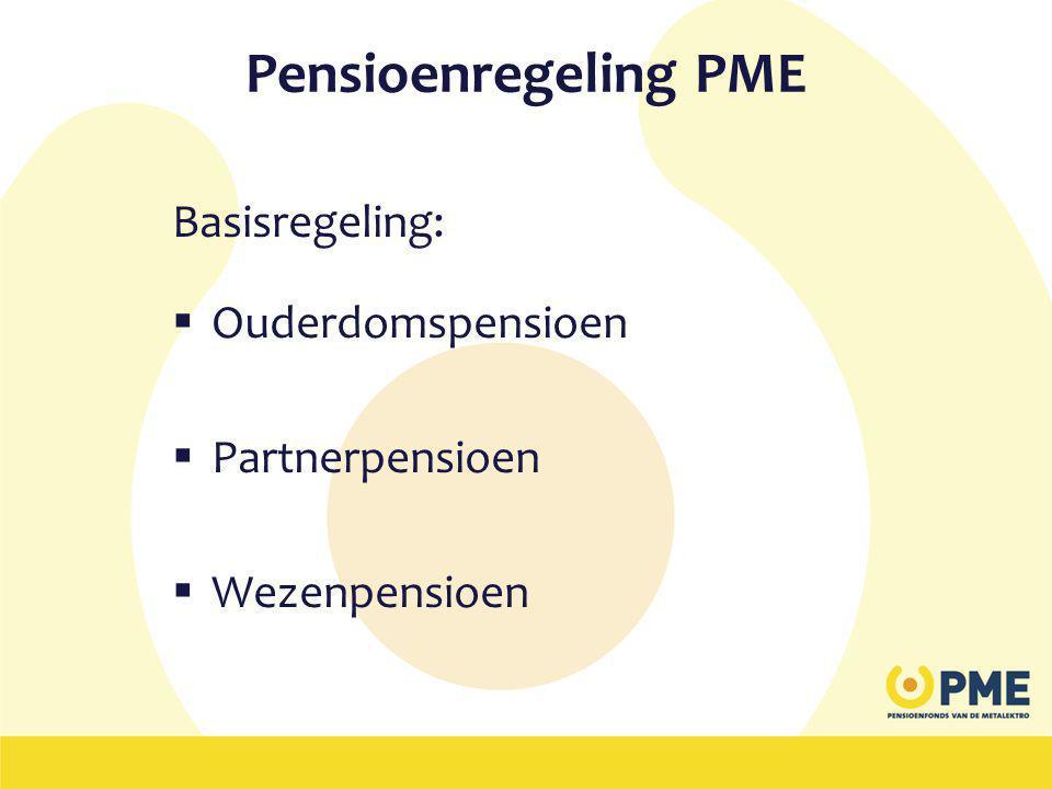 Pensioenregeling PME Basisregeling:  Ouderdomspensioen  Partnerpensioen  Wezenpensioen
