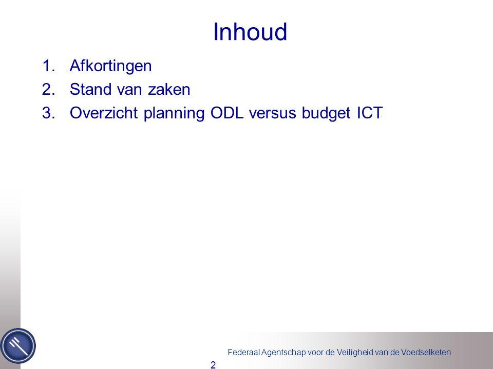 Federaal Agentschap voor de Veiligheid van de Voedselketen Inhoud 1.Afkortingen 2.Stand van zaken 3.Overzicht planning ODL versus budget ICT 2