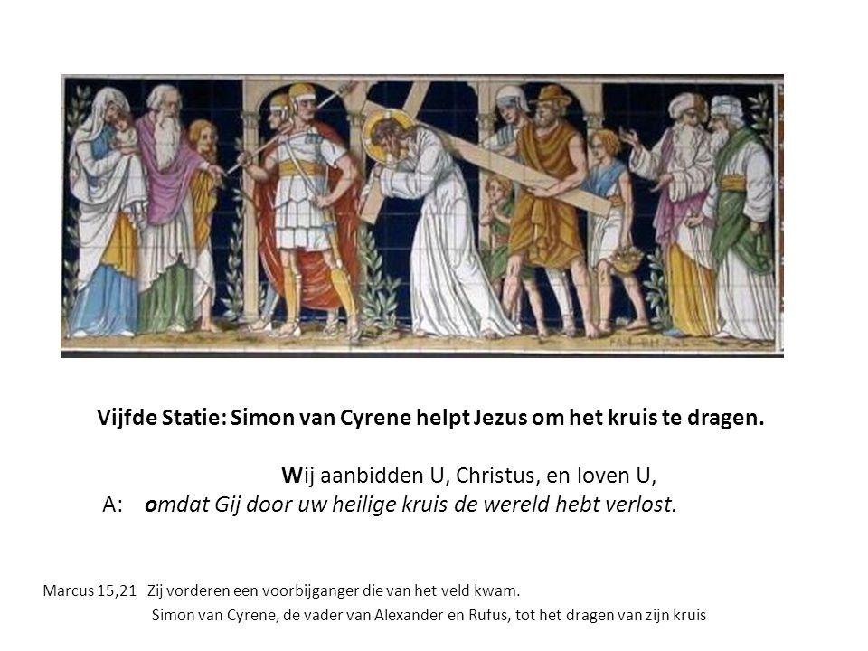 Vijfde Statie, linkerpaneel (Tob. 5,4) De aartsengel Raphaël geleidt de jonge Tobias