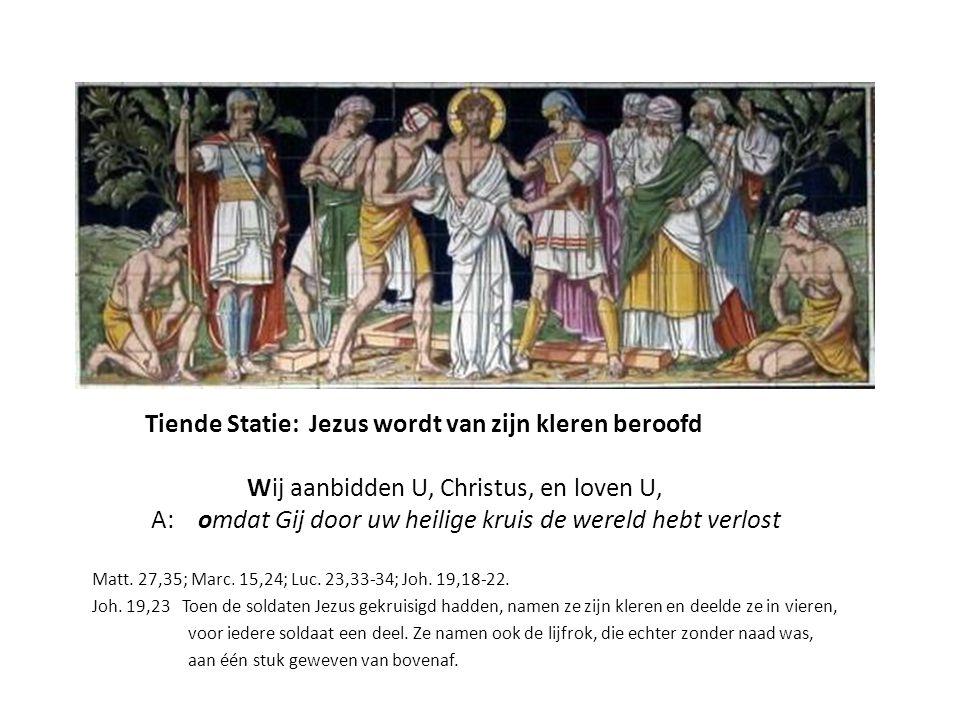 Tiende Statie, linkerpaneel Gen.44,12 De beker van farao wordt in de zak van Benjamin gevonden