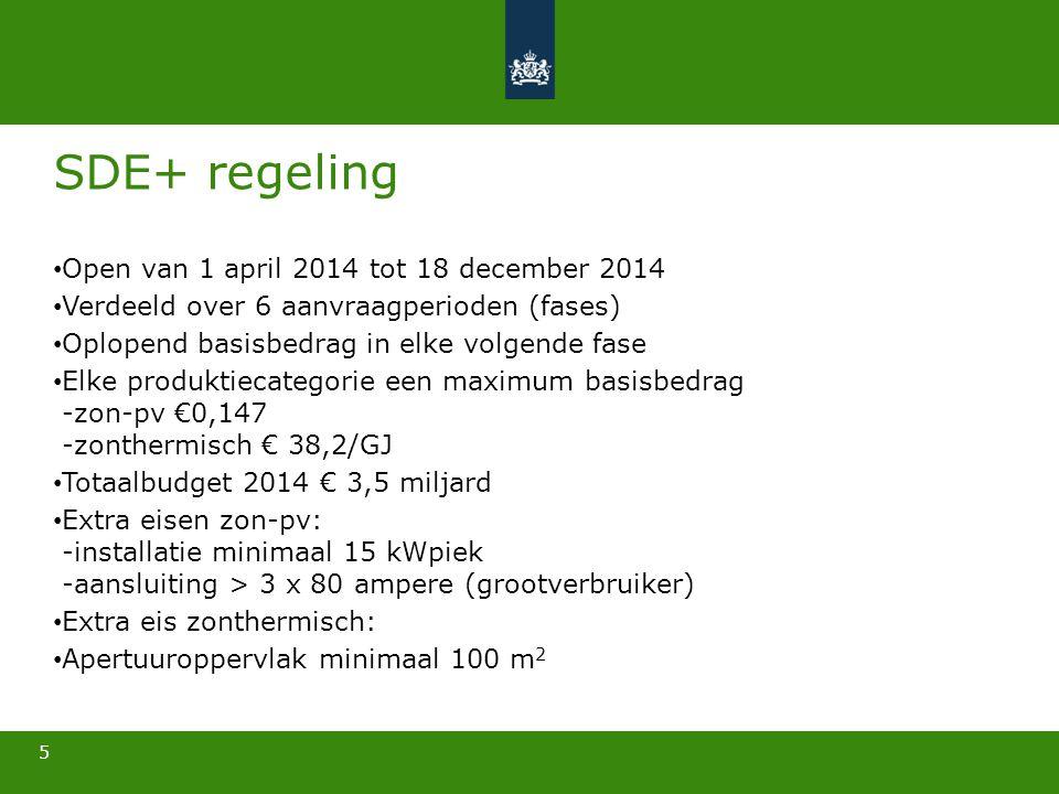 5 SDE+ regeling • Open van 1 april 2014 tot 18 december 2014 • Verdeeld over 6 aanvraagperioden (fases) • Oplopend basisbedrag in elke volgende fase •