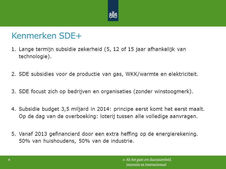 Kenmerken SDE+ 1.Lange termijn subsidie zekerheid (5, 12 of 15 jaar afhankelijk van technologie). 2.SDE subsidies voor de productie van gas, WKK/warmt