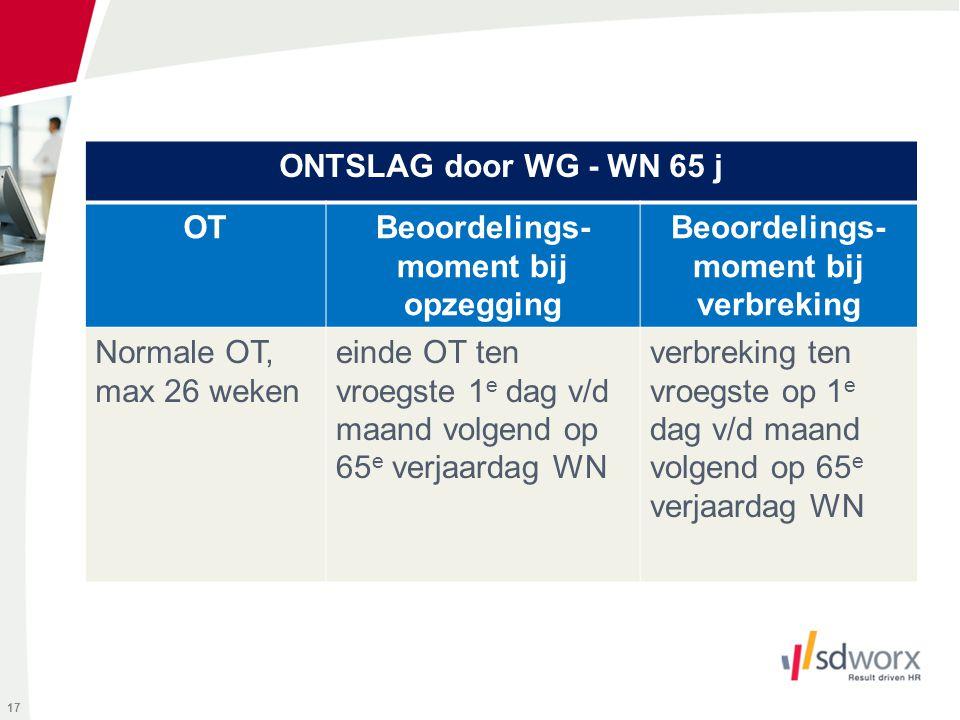 17 ONTSLAG door WG - WN 65 j OTBeoordelings- moment bij opzegging Beoordelings- moment bij verbreking Normale OT, max 26 weken einde OT ten vroegste 1