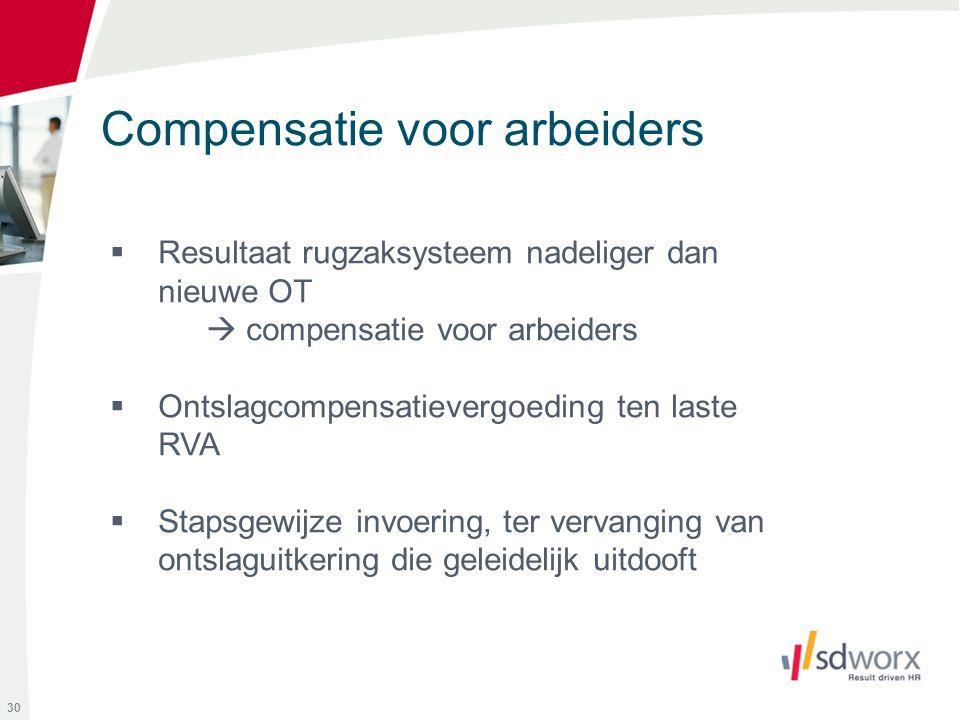 Compensatie voor arbeiders 30  Resultaat rugzaksysteem nadeliger dan nieuwe OT  compensatie voor arbeiders  Ontslagcompensatievergoeding ten laste