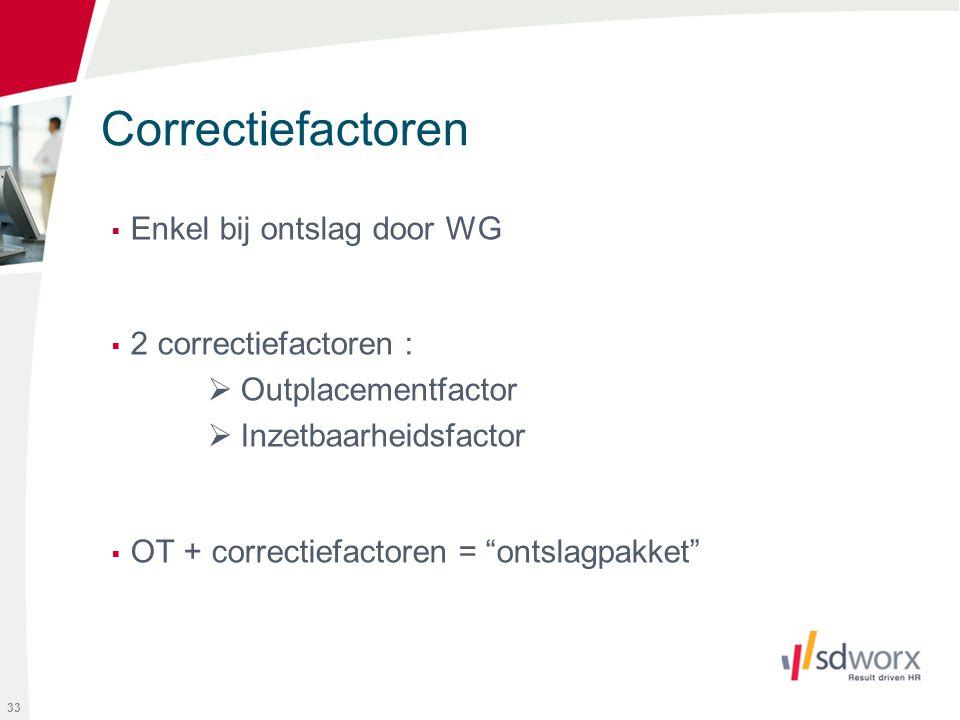 """Correctiefactoren  Enkel bij ontslag door WG  2 correctiefactoren :  Outplacementfactor  Inzetbaarheidsfactor  OT + correctiefactoren = """"ontslagp"""