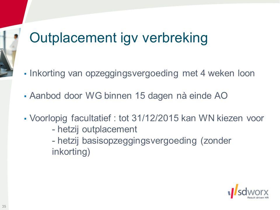 Outplacement igv verbreking  Inkorting van opzeggingsvergoeding met 4 weken loon  Aanbod door WG binnen 15 dagen nà einde AO  Voorlopig facultatief