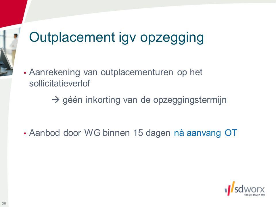 Outplacement igv opzegging  Aanrekening van outplacementuren op het sollicitatieverlof  géén inkorting van de opzeggingstermijn  Aanbod door WG bin
