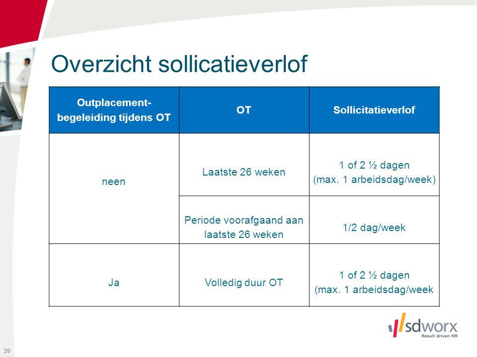 Overzicht sollicatieverlof 39 Outplacement- begeleiding tijdens OT OTSollicitatieverlof neen Laatste 26 weken 1 of 2 ½ dagen (max. 1 arbeidsdag/week)