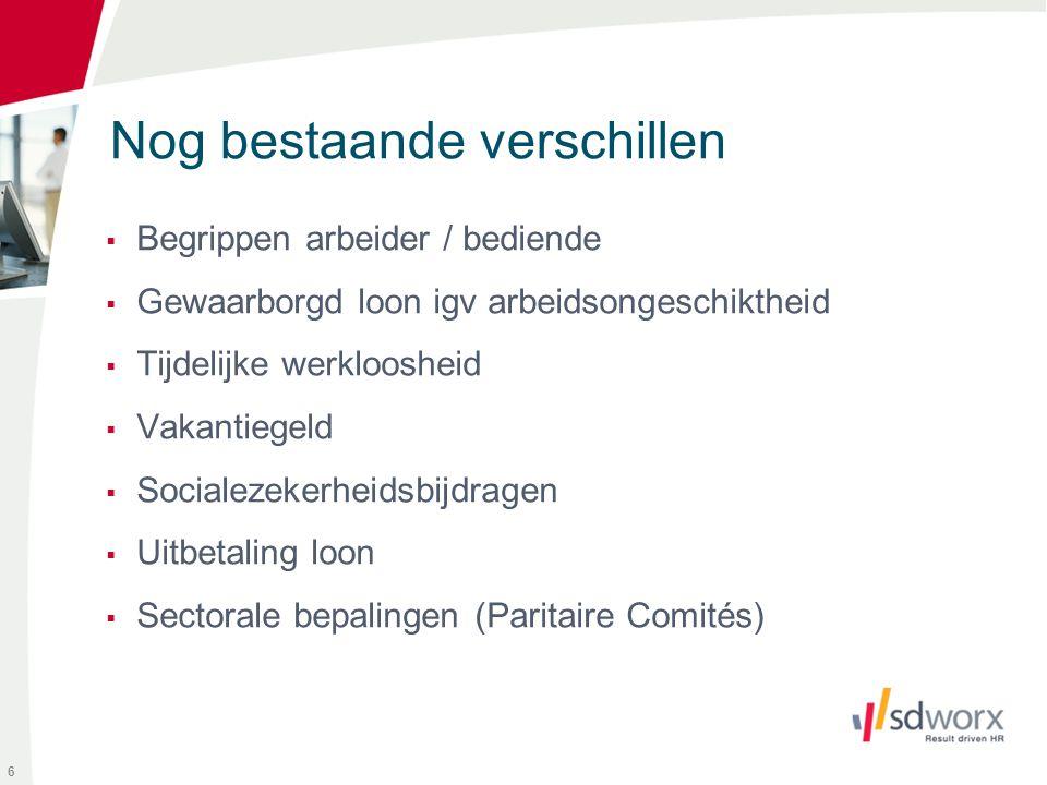 Inhoud rugzak = verworven rechten op OT volgens regels die gelden vóór 1/1/2014 Uitzondering : alle hogere bedienden (met jaarloon > 32.886 EUR) 27