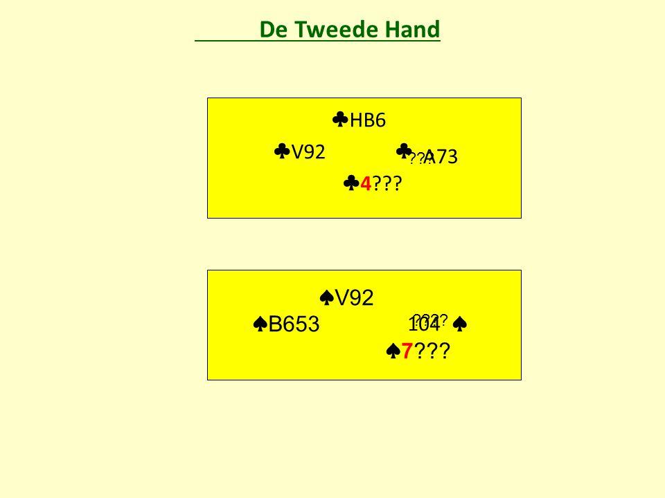 De Tweede Hand ♣ HB6 ♣ V92 ♣ ♣ 4 A73 ♠ V92 ♠ B653 ♠ ♠ 7 104
