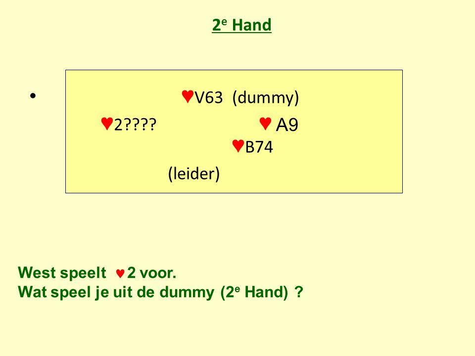 2 e Hand • ♥ V63 (dummy) ♥ 2 . ♥ ♥ B74 (leider) West speelt  2 voor.