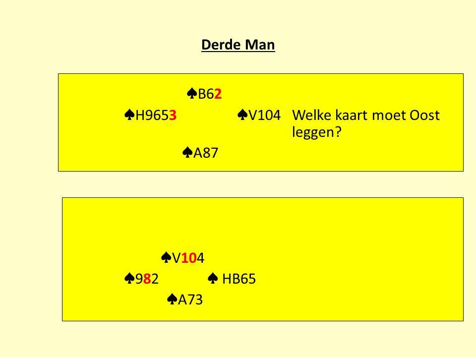 Derde Man ♠ B62 ♠ H9653 ♠ V104 Welke kaart moet Oost leggen ♠ A87 ♠ V104 ♠ 982 ♠ HB65 ♠ A73