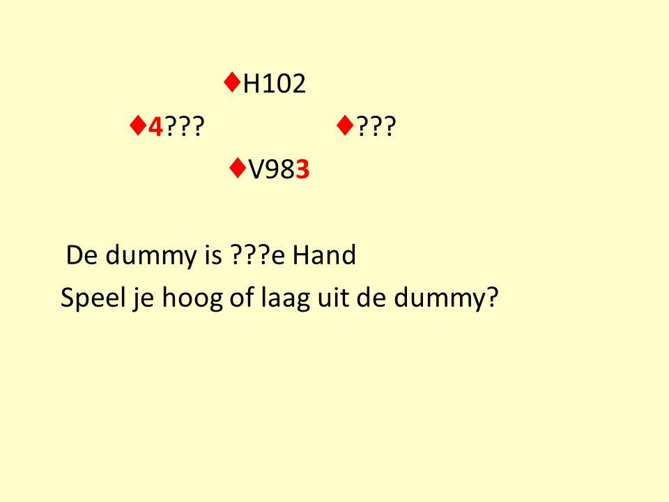♦ H102 ♦ 4 ♦ ♦ V983 De dummy is e Hand Speel je hoog of laag uit de dummy
