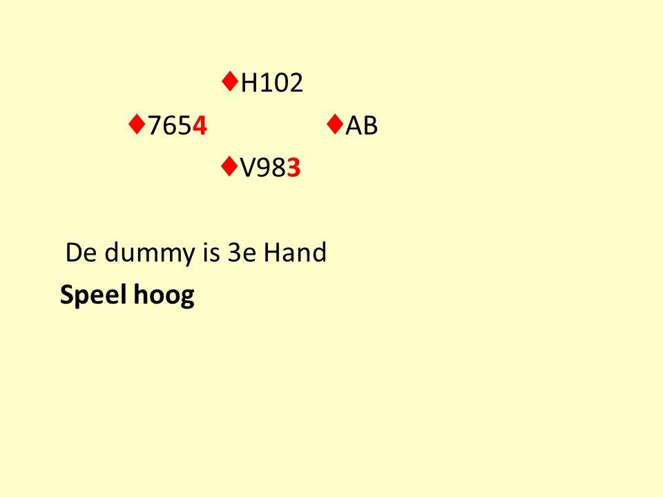 ♦ H102 ♦ 7654 ♦ AB ♦ V983 De dummy is 3e Hand Speel hoog