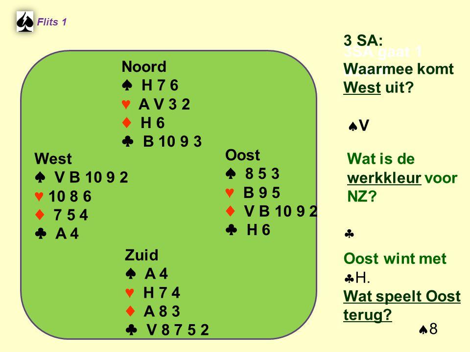 Noord ♠ H 7 6 ♥ A V 3 2 ♦ H 6 ♣ B 10 9 3 Flits 1 Oost ♠ 8 5 3 ♥ B 9 5 ♦ V B 10 9 2 ♣ H 6 Zuid ♠ A 4 ♥ H 7 4 ♦ A 8 3 ♣ V 8 7 5 2 3SA gaat 1 down.