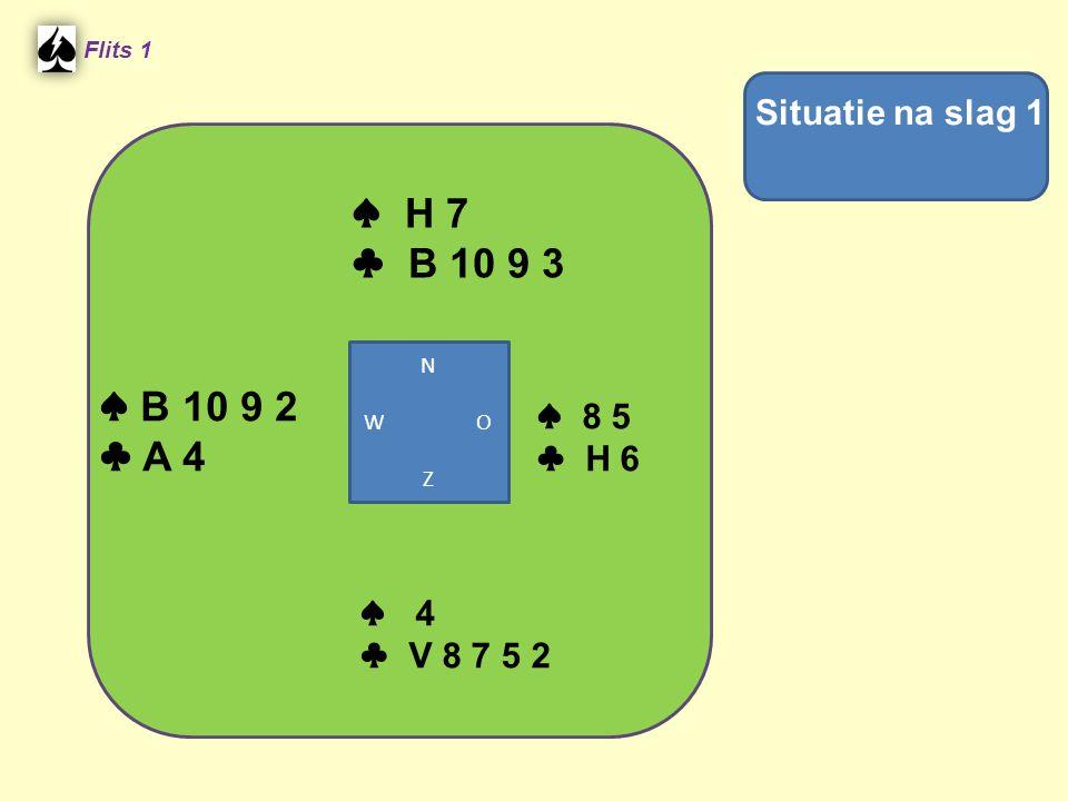 Flits 1 In slag 2 komt oost aan slag met ♣ H ♠ B 10 9 2 ♣ A N W O Z ♠ H 7 ♣ 10 9 3 ♠ 8 5 ♣ 6 ♠ 4 ♣ V 8 7 5 Nu partners uitkomstkleur terugspelen