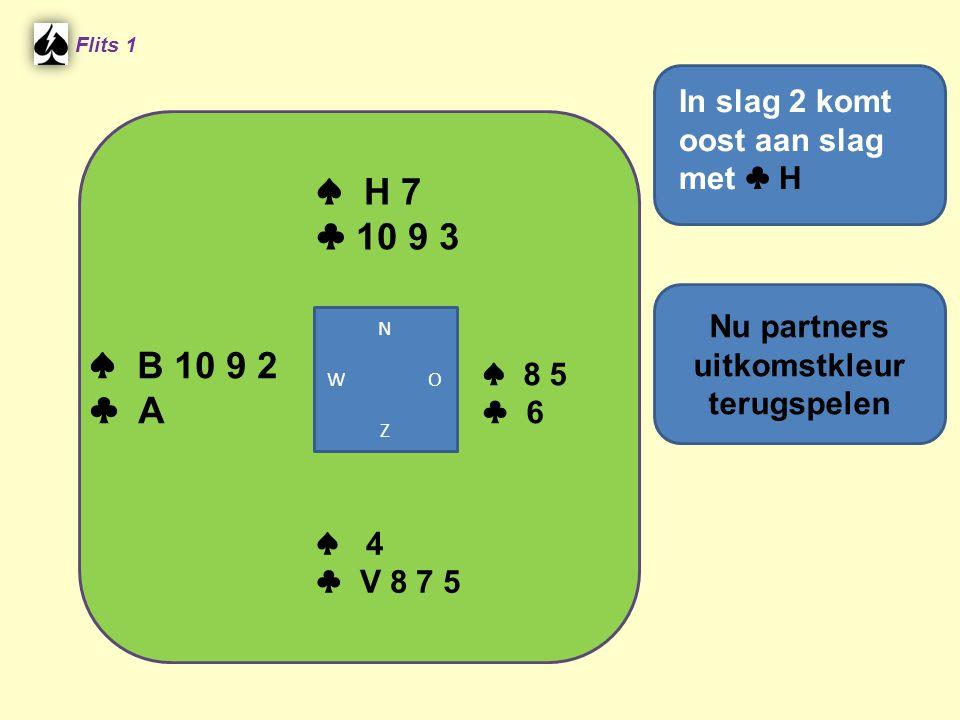 Derde Man ♠ B62 ♠ 3??.♠ V104 Welke kaart moet Oost leggen.