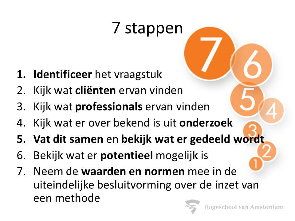 7 stappen 1.Identificeer het vraagstuk 2.Kijk wat cliënten ervan vinden 3.Kijk wat professionals ervan vinden 4.Kijk wat er over bekend is uit onderzoek 5.Vat dit samen en bekijk wat er gedeeld wordt 6.Bekijk wat er potentieel mogelijk is 7.Neem de waarden en normen mee in de uiteindelijke besluitvorming over de inzet van een methode