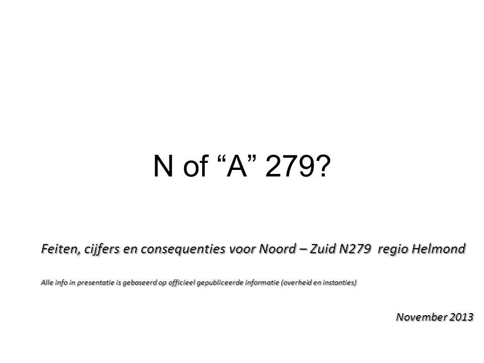 """N of """"A"""" 279? Feiten, cijfers en consequenties voor Noord – Zuid N279 regio Helmond Alle info in presentatie is gebaseerd op officieel gepubliceerde i"""