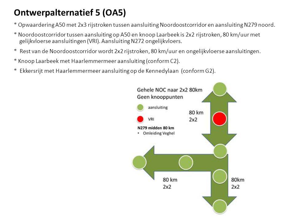 Ontwerpalternatief 5 (OA5) * Opwaardering A50 met 2x3 rijstroken tussen aansluiting Noordoostcorridor en aansluiting N279 noord. * Noordoostcorridor t