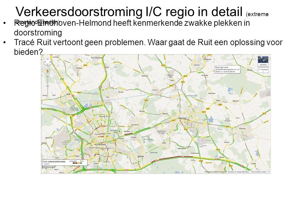 Verkeersdoorstroming I/C regio in detail (extreme omstandigheden) •Regio Eindhoven-Helmond heeft kenmerkende zwakke plekken in doorstroming •Tracé Rui