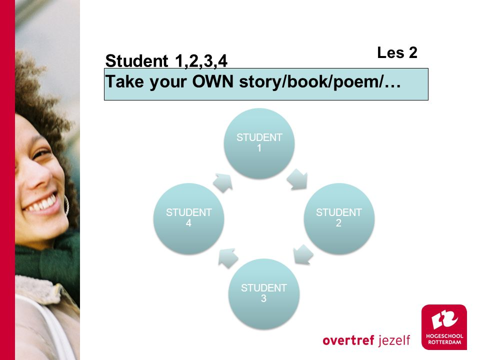 Student 1,2,3,4 Take your OWN story/book/poem/… STUDENT 1 STUDENT 2 STUDENT 3 STUDENT 4 Les 2