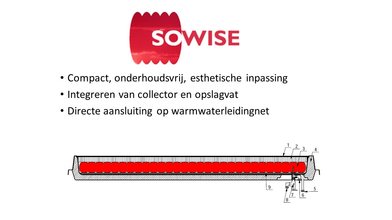 • Compact, onderhoudsvrij, esthetische inpassing • Integreren van collector en opslagvat • Directe aansluiting op warmwaterleidingnet