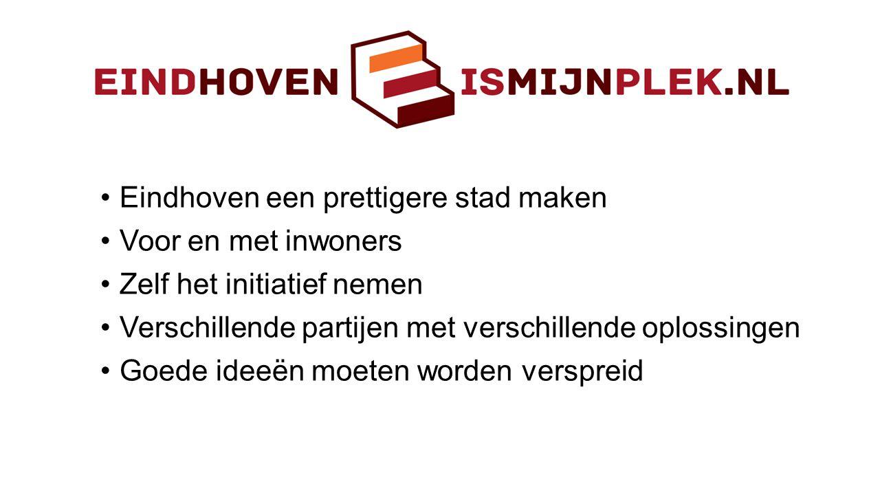 •Eindhoven een prettigere stad maken •Voor en met inwoners •Zelf het initiatief nemen •Verschillende partijen met verschillende oplossingen •Goede ide