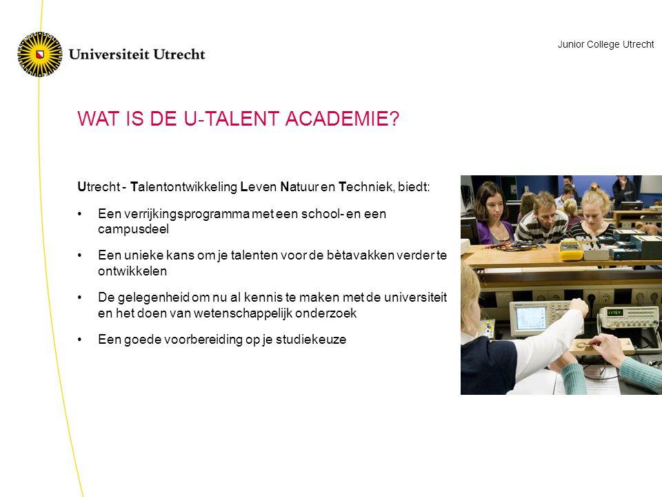 Utrecht - Talentontwikkeling Leven Natuur en Techniek, biedt: •Een verrijkingsprogramma met een school- en een campusdeel •Een unieke kans om je talenten voor de bètavakken verder te ontwikkelen •De gelegenheid om nu al kennis te maken met de universiteit en het doen van wetenschappelijk onderzoek •Een goede voorbereiding op je studiekeuze WAT IS DE U-TALENT ACADEMIE.