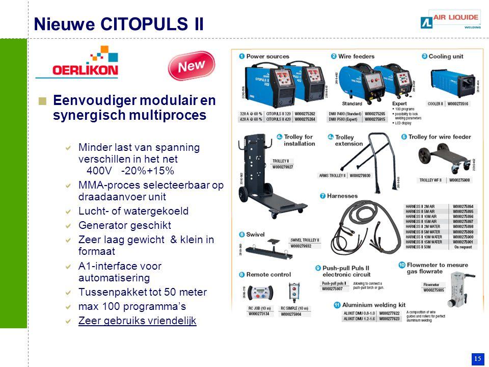 15 Nieuwe CITOPULS II Eenvoudiger modulair en synergisch multiproces  Minder last van spanning verschillen in het net 400V -20%+15%  MMA-proces sele