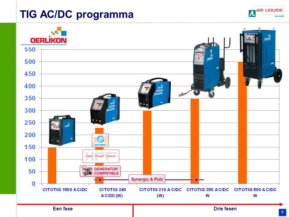 9 TIG AC/DC programma Een faseDrie fasen