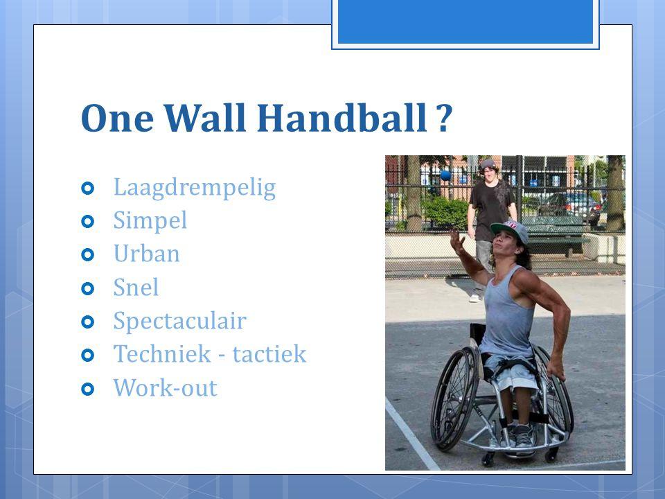 Geschiedenis  Spelen of slaan op een bal reeds in oude Egypte aanwezig  1427 in Schotland (King James) : 1° vorm van One Wall Handball  1527 in Ierland (Galway) : spelen tegen de stadsmuren  1785 : als sport erkend in Ierland : Gaelic Handball  USA : door Ierse imigratie