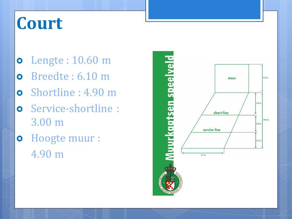 Court  Lengte : 10.60 m  Breedte : 6.10 m  Shortline : 4.90 m  Service-shortline : 3.00 m  Hoogte muur : 4.90 m