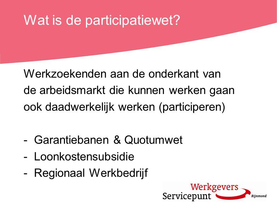 Garantiebanen -125.000 extra banen (fte) (voor de regio Rijnmond zijn dit ± 12.500 extra banen) -Gezamenlijke inspanningsverplichting -Tegemoetkoming door overheid (Loonkostensubsidie & Loonwaardemeting)