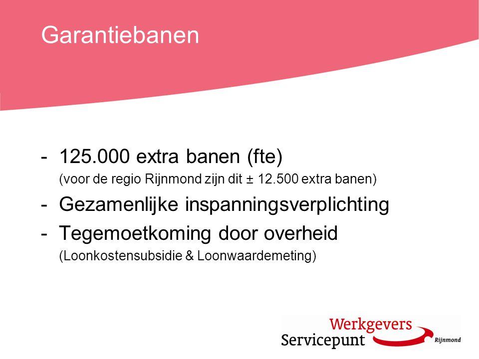 Garantiebanen -125.000 extra banen (fte) (voor de regio Rijnmond zijn dit ± 12.500 extra banen) -Gezamenlijke inspanningsverplichting -Tegemoetkoming