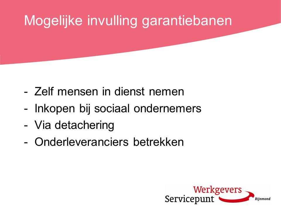 Mogelijke invulling garantiebanen -Zelf mensen in dienst nemen -Inkopen bij sociaal ondernemers -Via detachering -Onderleveranciers betrekken