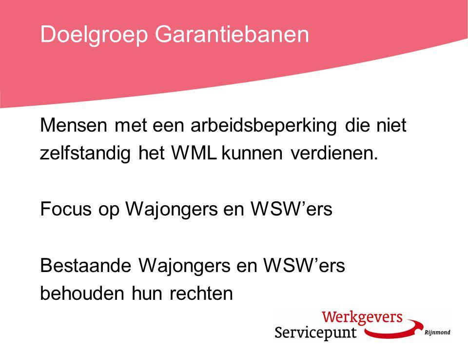 Doelgroep Garantiebanen Mensen met een arbeidsbeperking die niet zelfstandig het WML kunnen verdienen. Focus op Wajongers en WSW'ers Bestaande Wajonge