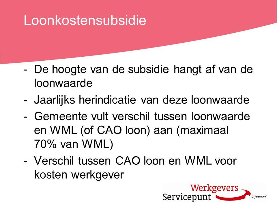 Loonkostensubsidie -De hoogte van de subsidie hangt af van de loonwaarde -Jaarlijks herindicatie van deze loonwaarde -Gemeente vult verschil tussen lo