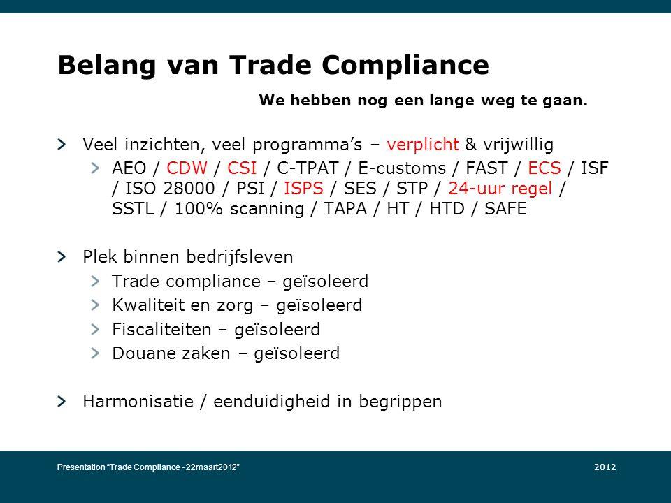 Belang van Trade Compliance We hebben nog een lange weg te gaan. Veel inzichten, veel programma's – verplicht & vrijwillig AEO / CDW / CSI / C-TPAT /