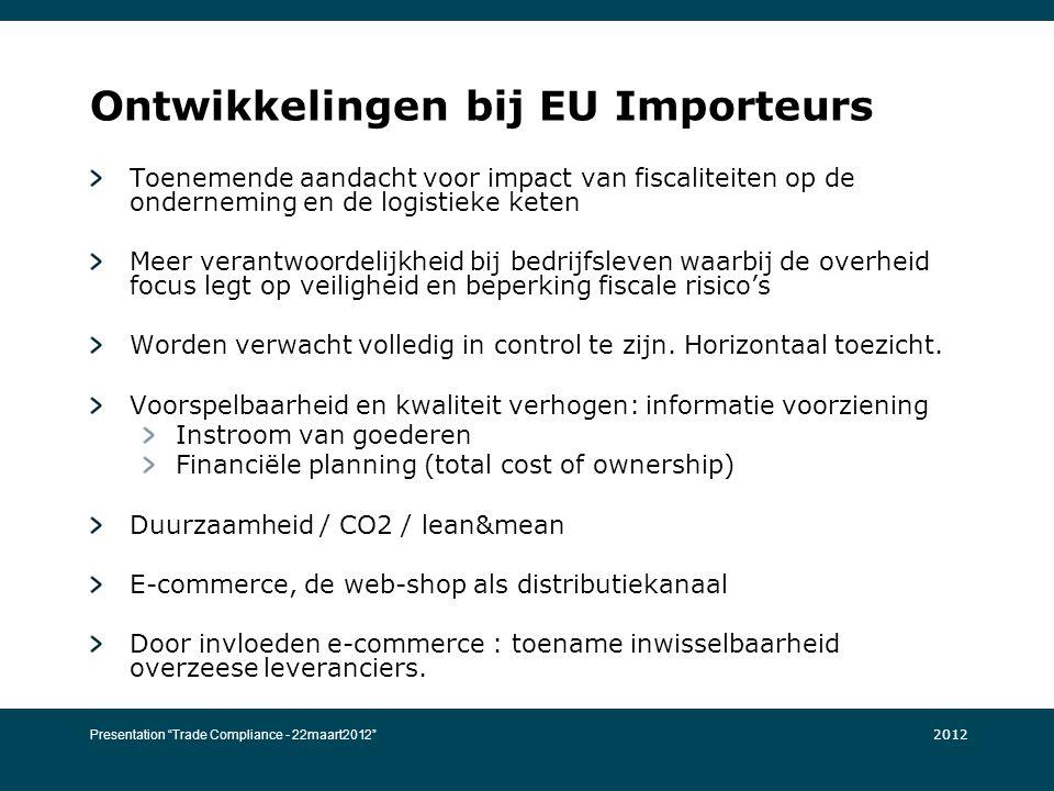 Ontwikkelingen bij EU Importeurs Toenemende aandacht voor impact van fiscaliteiten op de onderneming en de logistieke keten Meer verantwoordelijkheid