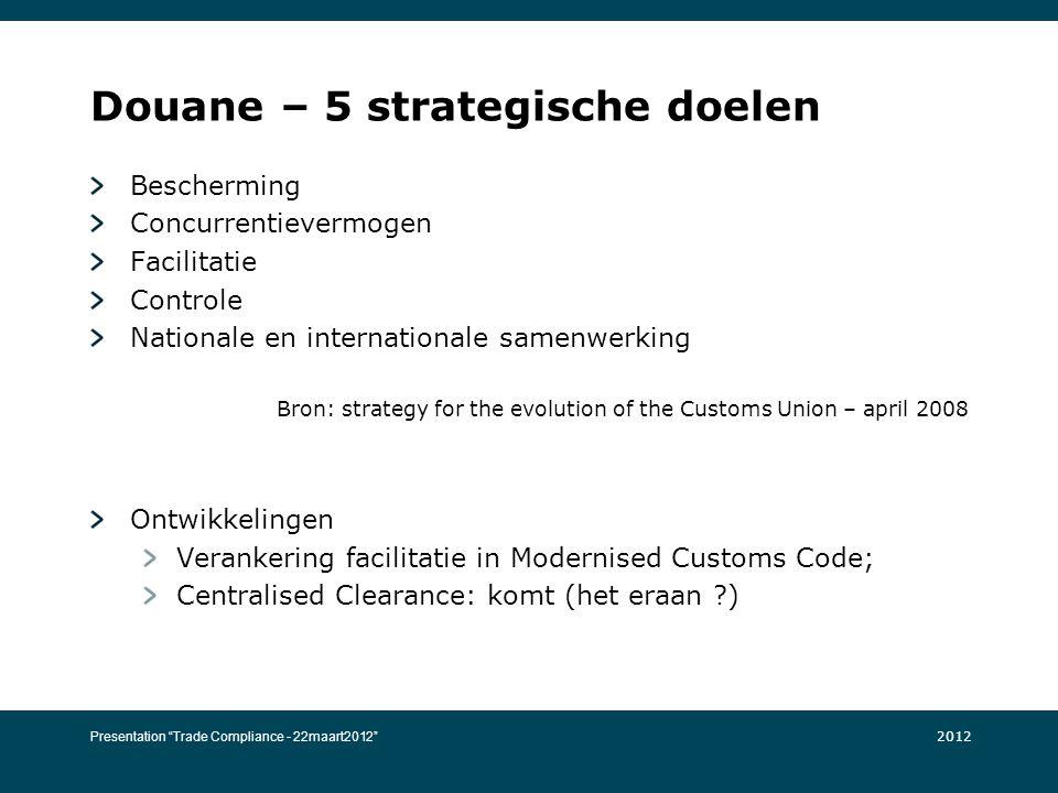 Douane – 5 strategische doelen Bescherming Concurrentievermogen Facilitatie Controle Nationale en internationale samenwerking Bron: strategy for the e
