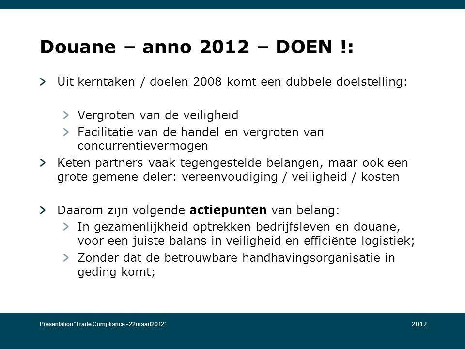 Douane – anno 2012 – DOEN !: Uit kerntaken / doelen 2008 komt een dubbele doelstelling: Vergroten van de veiligheid Facilitatie van de handel en vergr