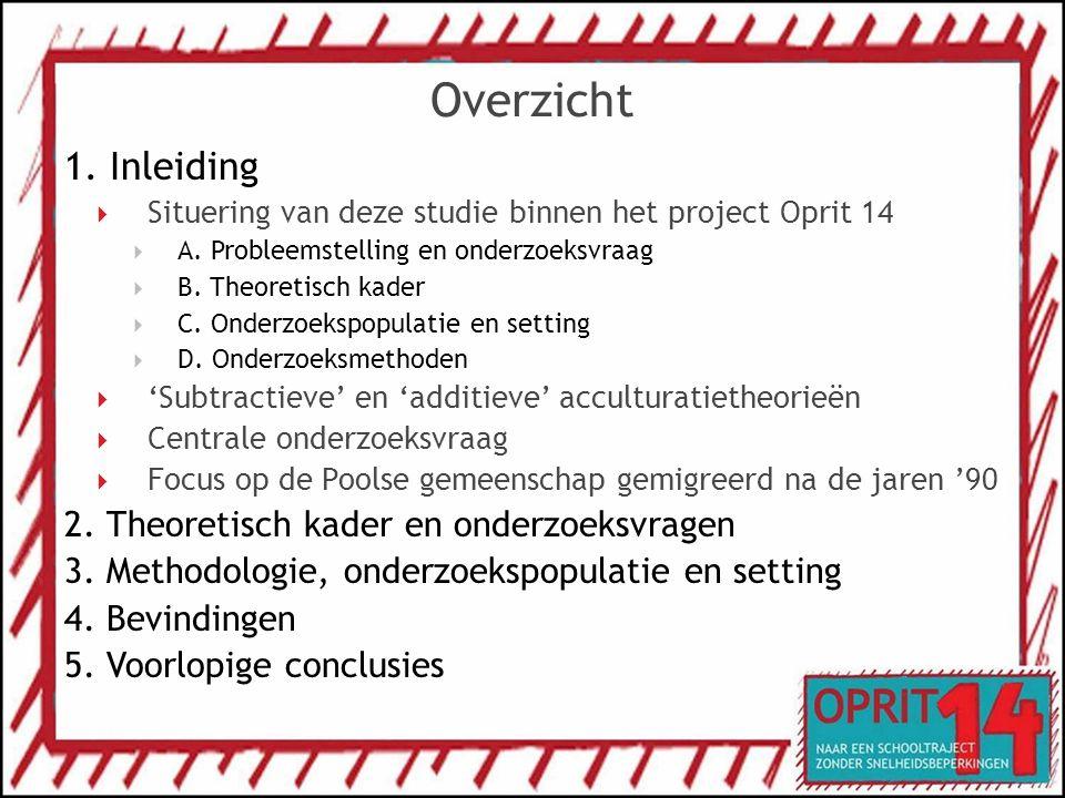 Overzicht 1. Inleiding  Situering van deze studie binnen het project Oprit 14  A. Probleemstelling en onderzoeksvraag  B. Theoretisch kader  C. On