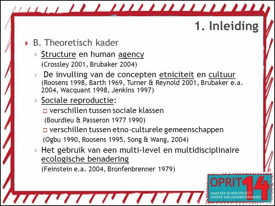 1. Inleiding  B. Theoretisch kader  Structure en human agency (Crossley 2001, Brubaker 2004)  De invulling van de concepten etniciteit en cultuur (