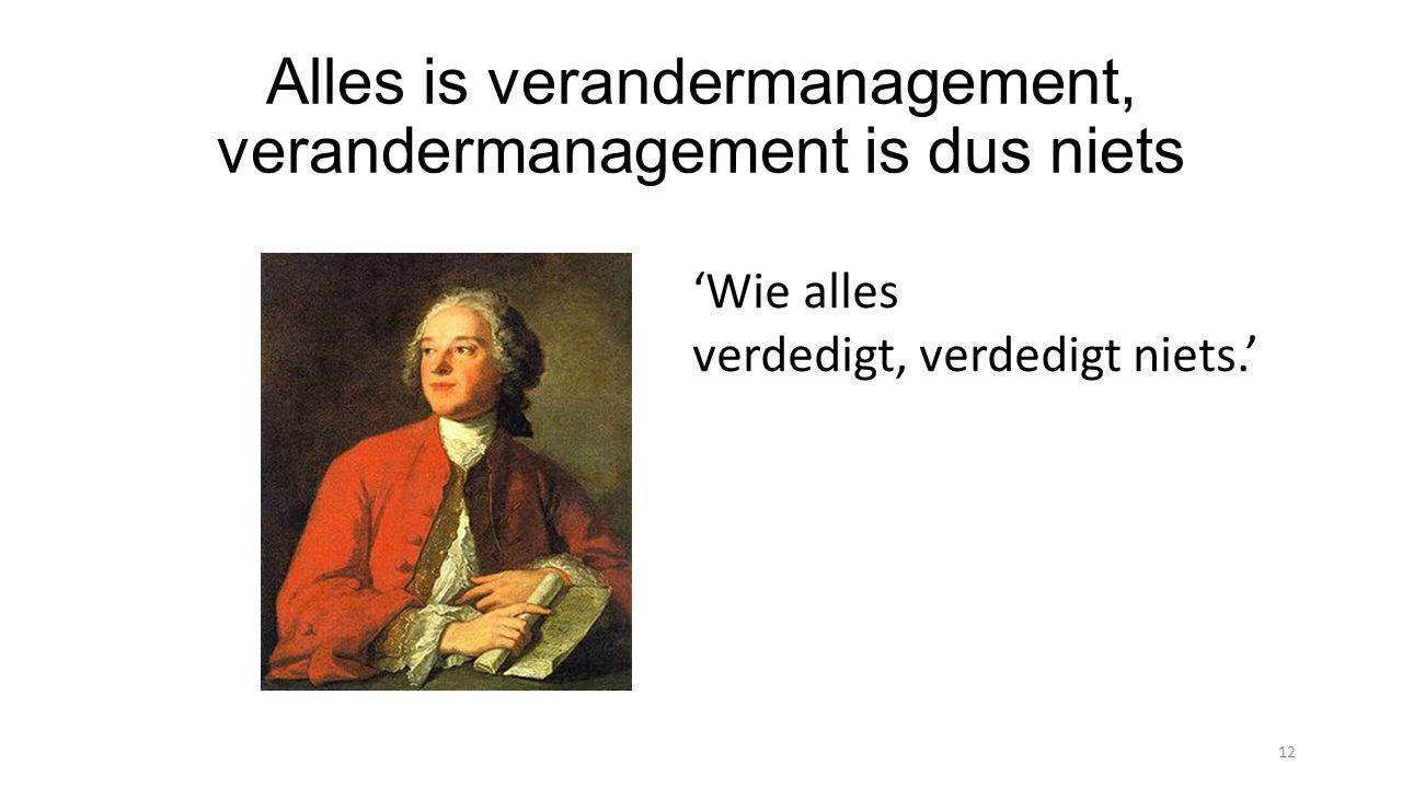 Alles is verandermanagement, verandermanagement is dus niets 12 'Wie alles verdedigt, verdedigt niets.'