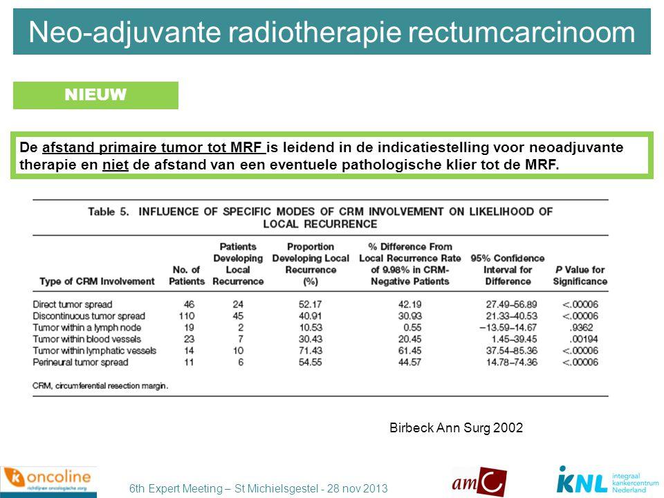 6th Expert Meeting – St Michielsgestel - 28 nov 2013 MERCURY study group BMJ 2006 Evans, Semin Radiation Oncol 2011 MRI ≈ histopathology (95% CI -0.487 to 0.395 mm) MRI hoge accuratesse voor vaststellen extramurale invasie T3