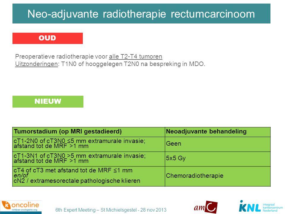 6th Expert Meeting – St Michielsgestel - 28 nov 2013 Maar als er achteraf nu toch een krappe marge (< 1mm) of positieve klier (N+) gevonden wordt en er is vooraf geen radiotherapie gegeven?