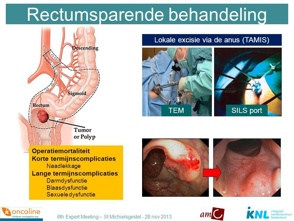 6th Expert Meeting – St Michielsgestel - 28 nov 2013 TEM voor laag risico T1 goede optie Hoog risico T1: 5x5 Gy pre-op radiotherapie + TME chirurgie Rectum sparende behandeling OUD (lokale excisie) NIEUW TEMSILS port Endoscopische techniek transanale excisie heeft de voorkeur (TEM or SILS port) Volledige stadiëring, bespreking in MDO, aanwezige expertise voorwaarde.