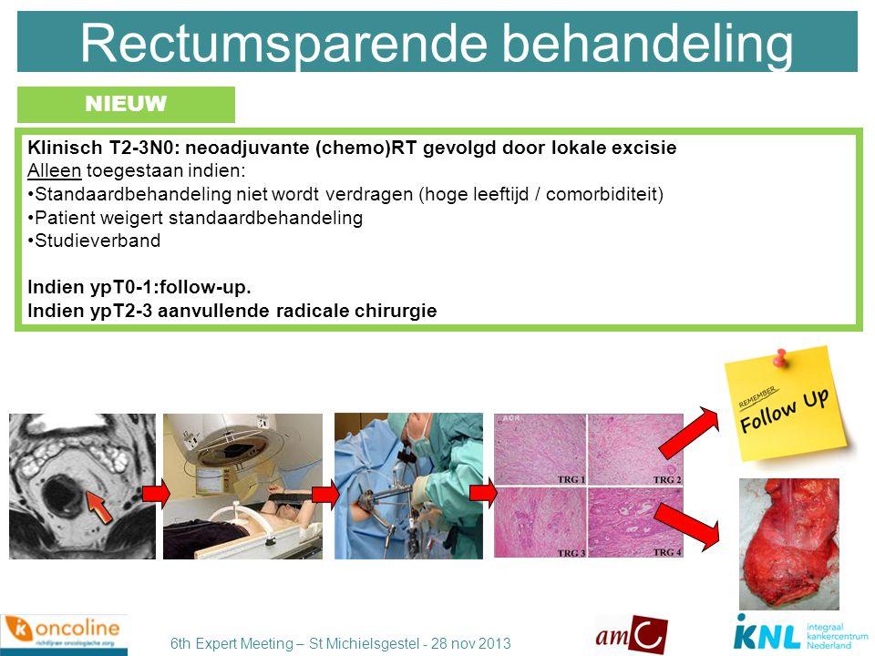 6th Expert Meeting – St Michielsgestel - 28 nov 2013 Rectumsparende behandeling Bij complete klinische respons na (chemo)RT (dus zonder lokale excisie) dient buiten studieverband geen 'wait and see' beleid te worden toegepast.