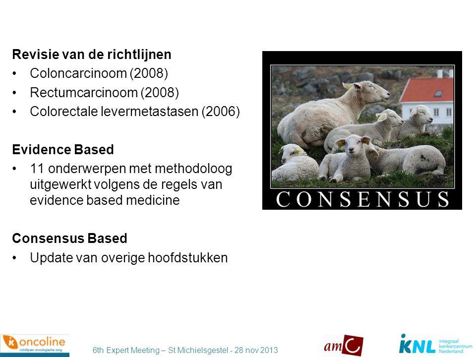 6th Expert Meeting – St Michielsgestel - 28 nov 2013 Rectumcarcinoom •Aanpassingen MRI rectum + indicatie radiotherapie •TME chirurgie •Rectumsparende behandeling •Adjuvante chemotherapie